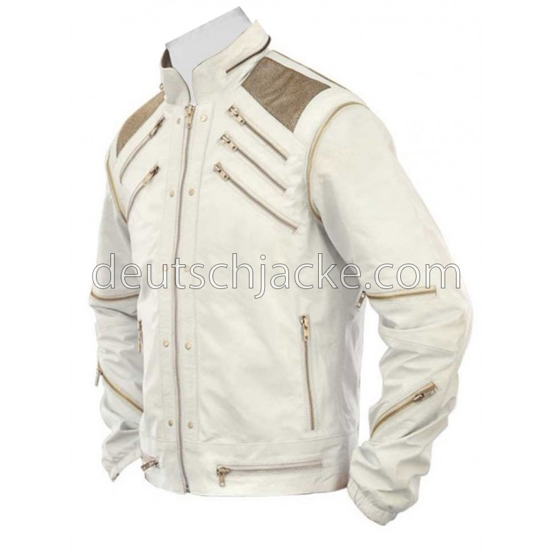 Beat It Michael Jackson White Real Leather Jacket.1