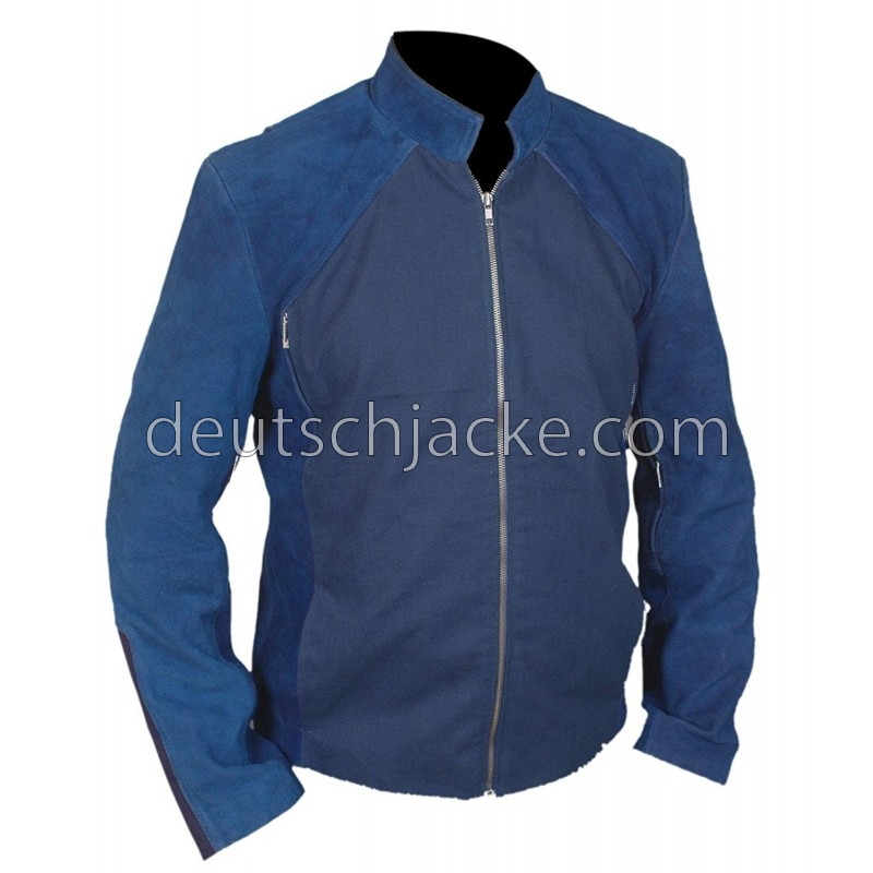 Captain America Winter Soldier Blue Leather Jacket2