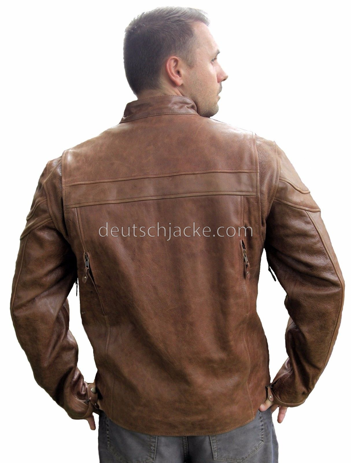 MENS TALL SIZE RETRO BROWN BUFFALO HIDE CAFE LEATHER MOTORCYCL..