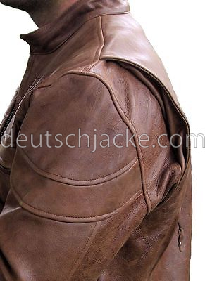 MENS TALL SIZE RETRO BROWN BUFFALO HIDE CAFE LEATHER MOTORCYCL1