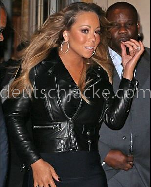 Mariah Carey Black Biker Style Motorcycle Leather Jacket1