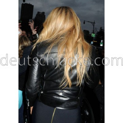 Mariah Carey Black Biker Style Motorcycle Leather Jacket3