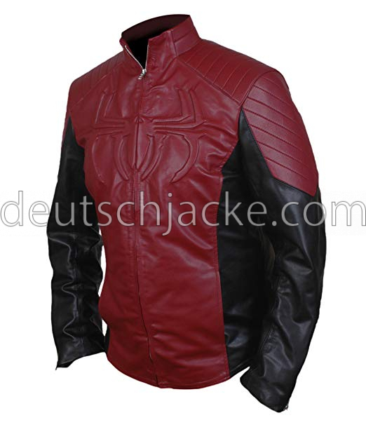 The Amazing Spider-Man Red & Black Biker Leather Jacket.1